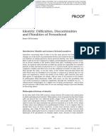 Identity Difficulties Discontinuities Pluralities in Palgrave Handbook of Science Fiction