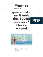 ''Want to Learn to Speak Latin or Greek This (2018) Summer'' (Latinitium.com)