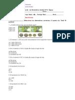 Evaluación de Matemática Unidad Nº0 Quinto