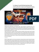 Prediksi Valencia vs Espanyol 9 April 2018 Piala Dunia Rusia 2018
