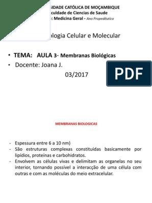 Aula 3 Biologia Celular Membranas Biologicas 1 Pptx