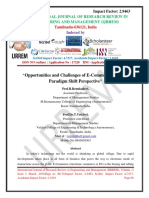 Opportunities and Challenges of E-Commerce in India- Paradigm Shift Perspective