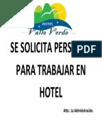 Se Solicita Personal Para Trabajar en Hotel