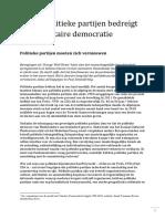 Verval Van Politieke Partijen Bedreigt Parlementaire Democratie
