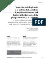 La Dimension Axiologizante de La Publicidad. Analisis Del Papel Modalizador Del Texto Publicitario Desde La Perspectiva de a.j.greimas