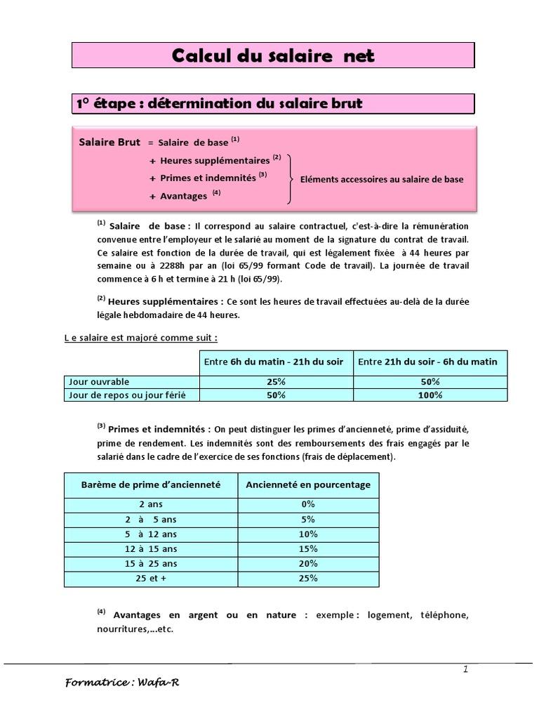 Cours Et Exercice Corrige De Calcul Salaire Net Et De L Ir Salarial