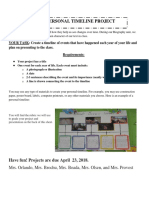 timeline project and rubric 2018