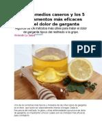 Los 5 Remedios Caseros y Los 5 Medicamentos Más Eficaces Para El Dolor de Garganta