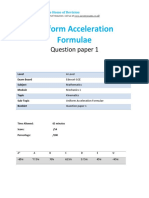 11.1- Uniform Acceleration Formulae - Edexcel a Level Maths Mechanics 1 Qp