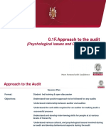 Approach to the Audit
