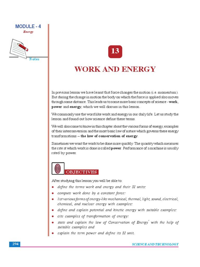 Work Energy Nios Power Physics Force
