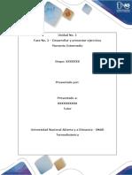 Termodinámica. UNIDAD 1. Fase No. 2 – Desarrollar y Presentar Ejercicios