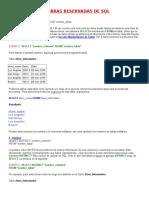 Palabras Reservadas de SQL