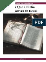 Pbc Curso de Estudo Biblico Licao 1 Por Que a Biblia e a Palavra de Deus