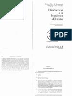 De Beaugrande & Dressler 1972 [1997] Introducción a la lingüística de texto, Cap. 1