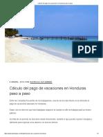 Cálculo Del Pago de Vacaciones en Honduras Paso a Paso