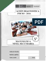 Evaluación diagnóstico MATEMÁTICA - 5°