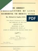 Correct Pronunciation of Latin According to Roman Usage