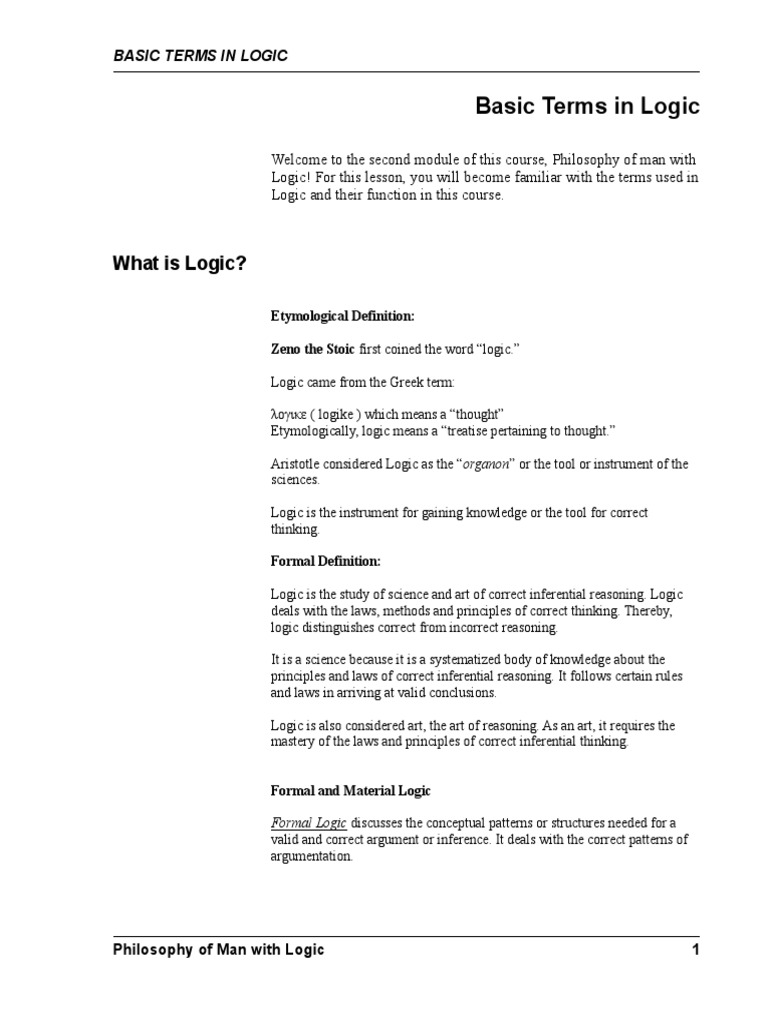 Formal logic and its basic laws