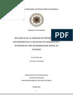 2014 - TFM - Influencia de La Variedad de Reforzadores Secundarios en La Velocidad de Adquisicion y Extincion de Una Discriminacion Simple en Palomas - Eduardo