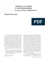 FARIA, Cláudia Feres. O que há de radical na teoria democrática contemporânea - análise do debate entre ativistas e deliberativos. 2010.pdf