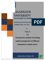 Comparative analysis of working capital management of different companies in textile sector