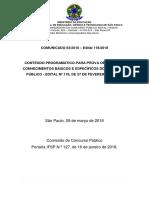 Comunicado 03 2018 Conteudo Programatico