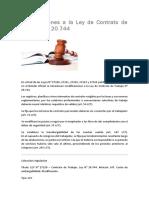 Modificaciones a La Ley de Contrato de Trabajo 20.744