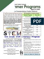 CLC - ESOL Summer Programs Newsletter for Schools 2018