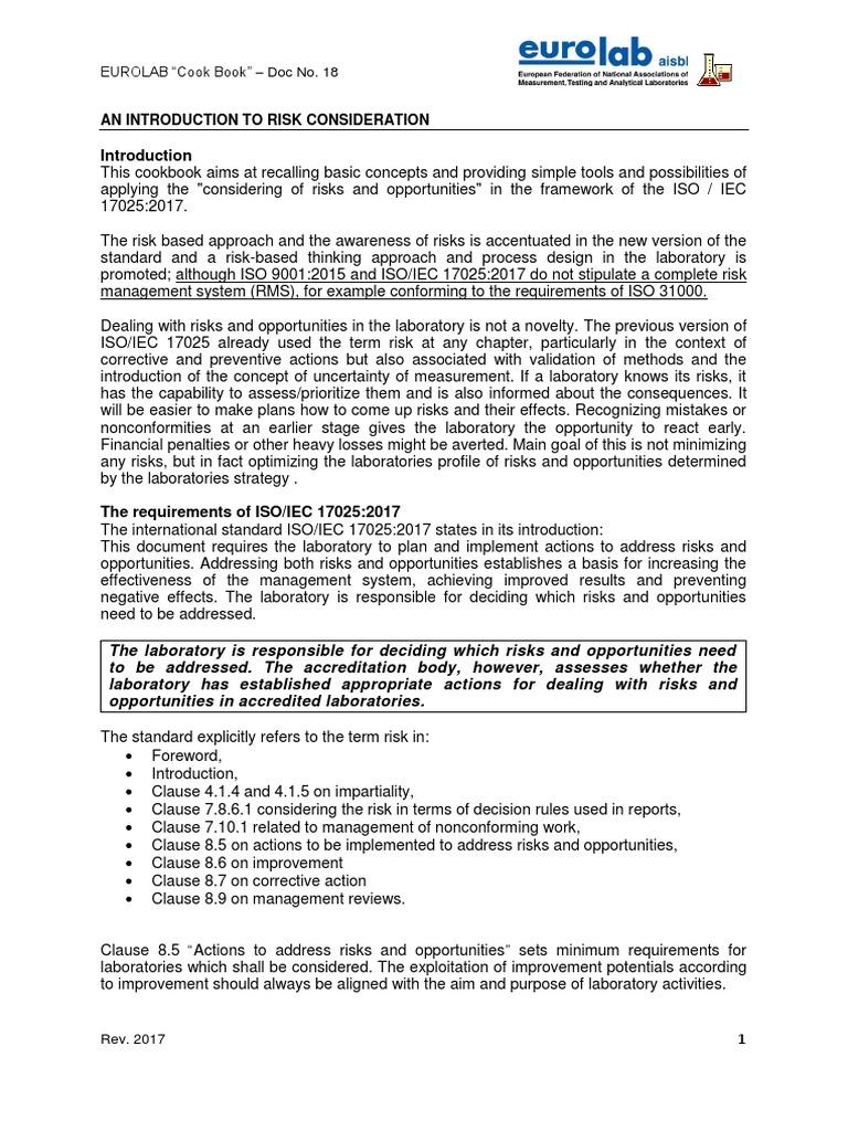 EUROLAB Cook Book – Doc No 18 Risk Based Appraoch_Rev  2017 | Risk