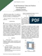 DETERMINACION DE FRECUENCIA CRITICA EN NUCLEOS FERROMEGNETICOS