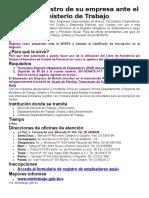 Guía de Registro de Su Empresa Ante El Ministerio de Trabajo