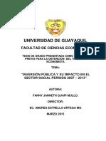 """""""Inversión Pública y Su Impacto en El Sector Social Periodo 2007 – 2013"""" (1)"""