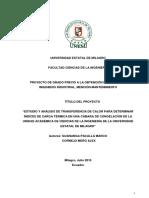 Estudio y Análisis de Transferencia de Calor Para Determinar Indices de Carga Térmica en Una Camara de Congelacion de La Unidad Académica de Ciencias de La Ingeniería de La U