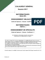Es Mathematiques Obligatoire 2017 Amerique Nord Sujet Officiel 3