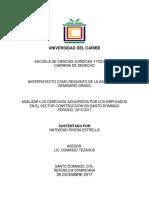 Anteproyecto Sobre Los Derechos Adquiridos Por Empleados en El Sector Construcción en Santo Domingo 2015-2017
