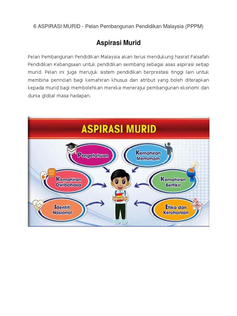 6 Aspirasi Murid Pelan Pembangunan Pendidikan Malaysia