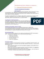 GMP Standard Operating Procedures SOP