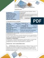 Guía de Actividades y Rúbrica de Evaluación Taller 4. Comprensión y Producción Del Discurso Argumentativo