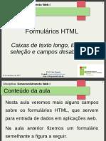 16.Aula 8 - HTML - Formulários - Caixas de Texto Longo e Listas de Seleção