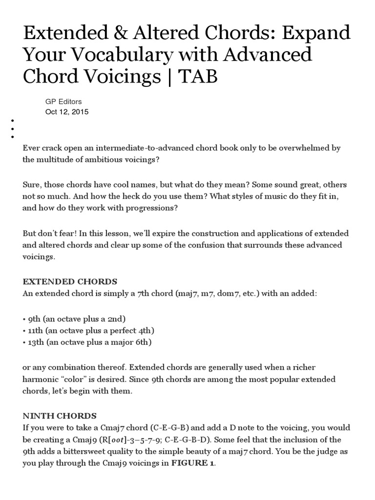 Altered And Extended Chords Chord Music Music Theory