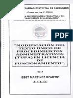 Modificación Del Texto Único de Procedimientos Administrativos (Tupac) en Licencia de Mantenimiento