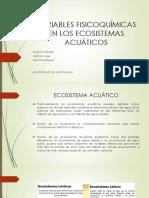 Variables Fisicoquímicas en Los Ecosistemas Acuáticos