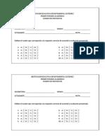 Hoja de Respuestas - Evaluaciones Periodo Uno