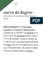 Barra Do Bugres – Wikipédia, A Enciclopédia Livre
