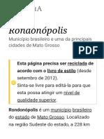 Rondonópolis – Wikipédia, A Enciclopédia Livre