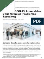 TEORÍA de COLAS, Los Modelos y Sus Formulas (Problemas Resueltos)