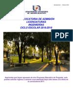 Informacion General de Admision Licenciatura 2018 1