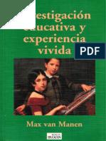 Investigación Educativa y Experiencia - Van Manen