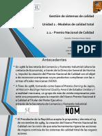 Unidad 2 .-Modelos de calidad total 2.1.- Premio Nacional de Calidad